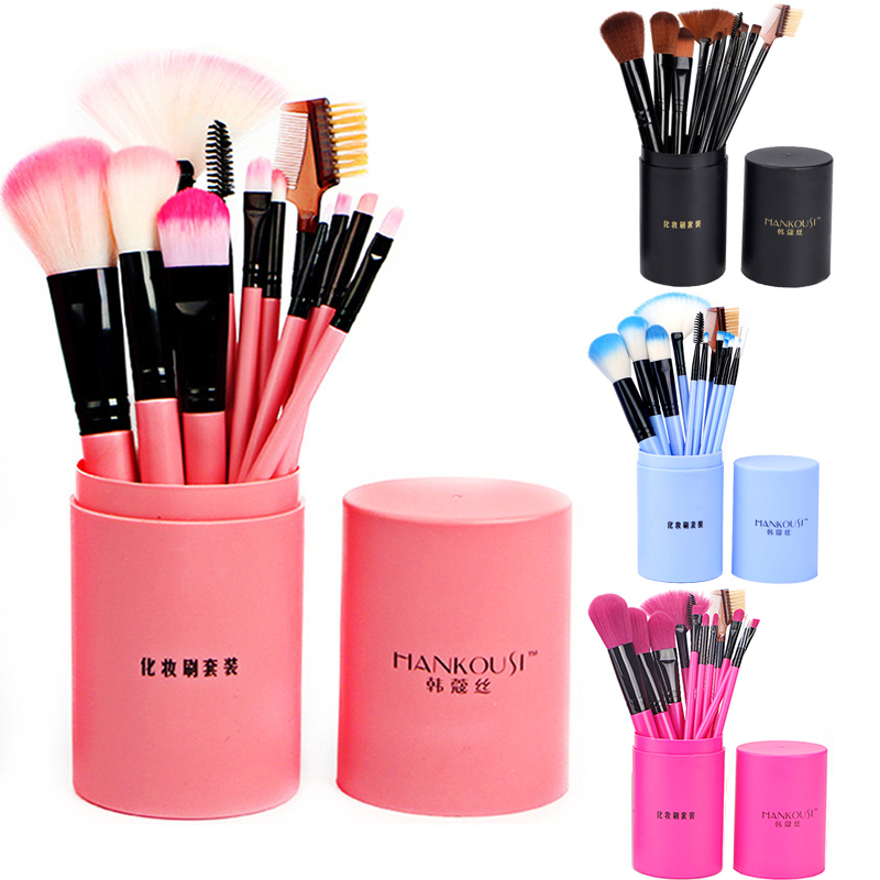Beauty Makeup Brushes Set Eye Shadow Foundation Eyeliner Powder Contour Concealer Lip Bevel Eyebrow Brush Cylinder