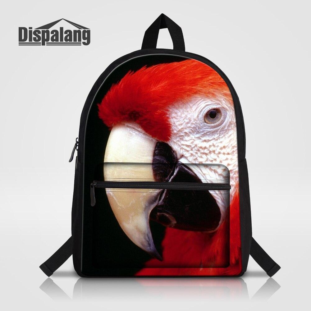 Dispalang 14 дюймов ноутбук рюкзак для подростков девочек мальчик животных Птица попугая путешествия рюкзак детей Холст ранцы rugzak