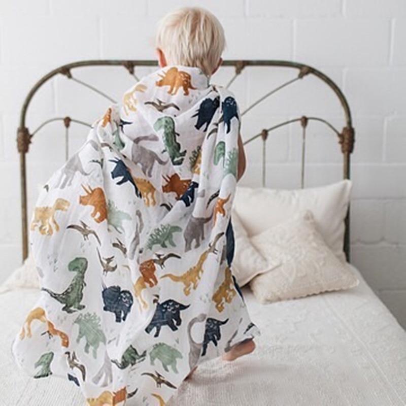 Active Print Newborn 47 X 47 Inch Baby Muslin Swaddle Blankets Baby Swaddle Blankets Bamboo Cotton Infant Bath Towel Wrap