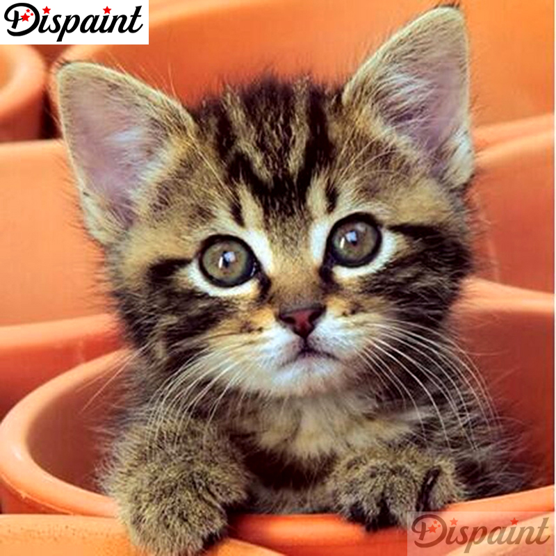 """Dispaint Full Square/Round Drill 5D DIY Diamond Painting """"Animal cat scenery"""" 3D Embroidery Cross Stitch 5D Home Decor A10491 thumbnail"""