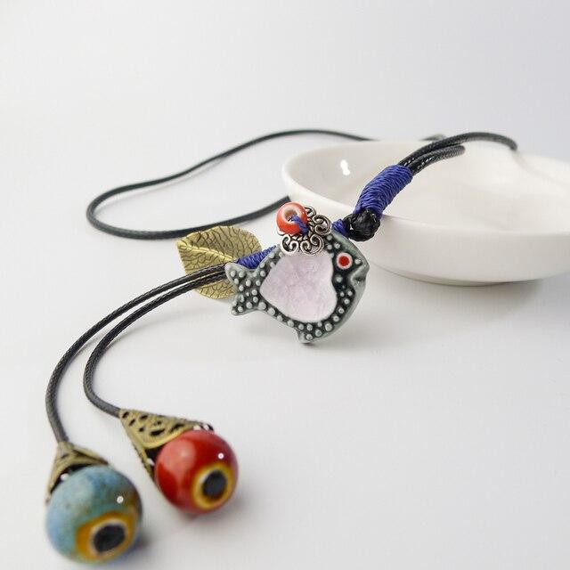 ロングロープセラミック魚ペンダントネックレス手作り DIY ファッションネックレス女性のための # EY106