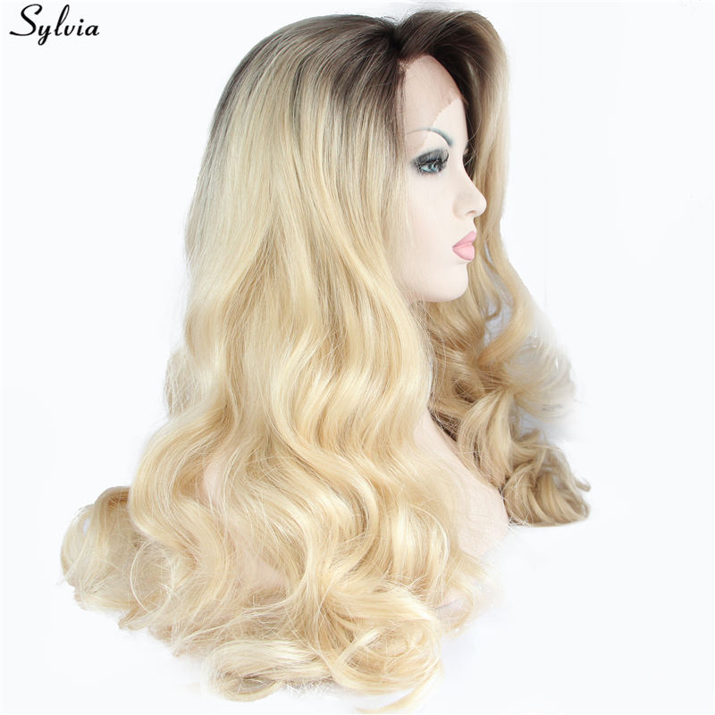Sylvia Synthetic Lace Front Wigs Gold Pastel Blonde Ombre Long Hair Heat Resistant Fiber Body Wave Hairstyle For Women Festival-in Synthetic None-Lace  Wigs from Hair Extensions & Wigs    2