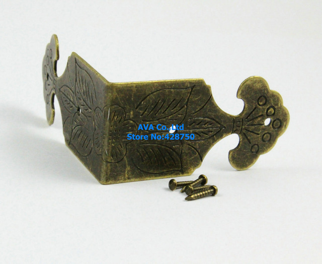 40 Pieces 46x22mm Antique Brass Jewelry Box Corner Gift Box Corner