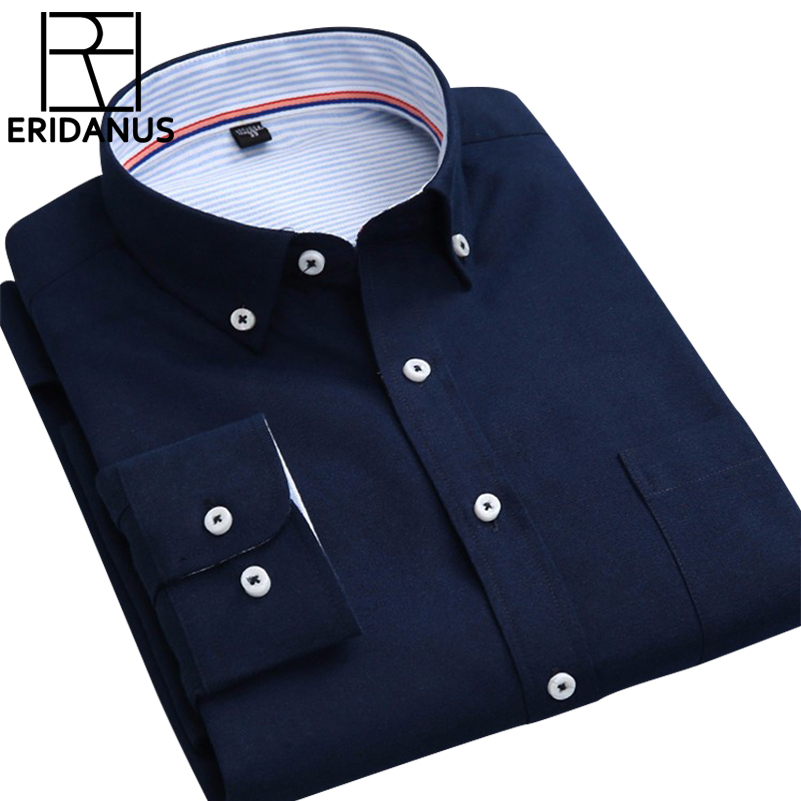 Big Size 4XL 2016 New Arrival Spring Oxford Men Shirt Full Sleeved Button Down Collar Pure Color Slim Fit Casual Shirts M006