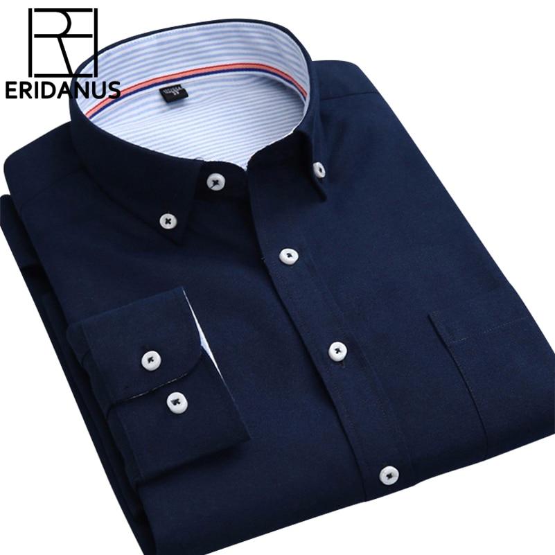 Nagy méret 4XL 2016 Új érkezési tavaszi Oxford férfi póló Teljes ujjú gomb lefelé gallér tiszta szín Slim Fit alkalmi ingek M006