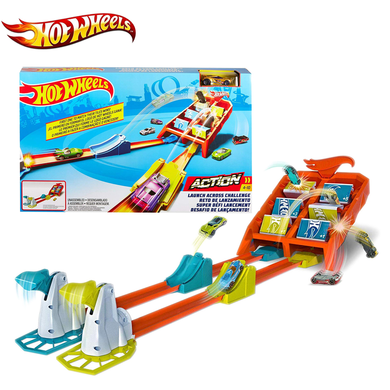 Hot Wheels Kid Toys Car Track Corkscrew Crash Set Double Racing Competition With Friend Include Diecast GBF89 For Birthday Gift