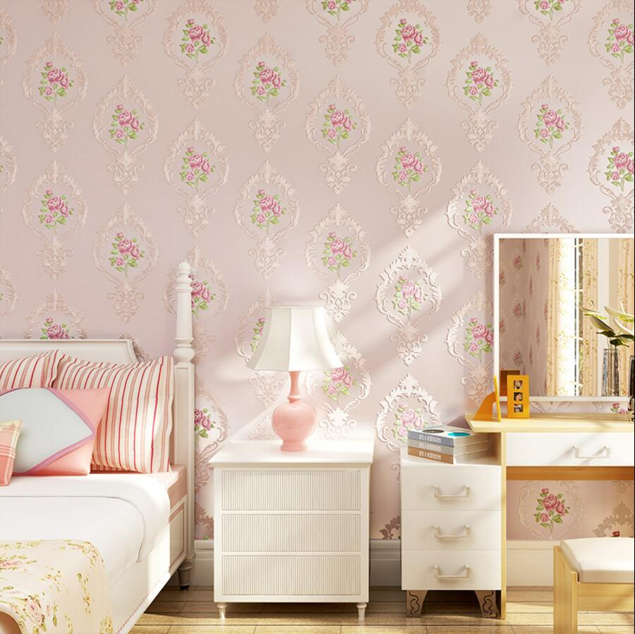 Eco-friendly non-woven wallpaper exquisite sculpture embossed wallpaper fashion rustic bedroom wallpaper
