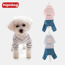 Hipidog Pet Clothes Doggy Striped Bear Pattern Jumpsuits Spring Autumn Soft Cotton Coat Pet Romper Small Dog Cat York Chihuahua(China)