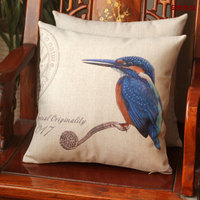 American country style flowers and birds cotton pillow cushion pillowcase Nordic modern car cushion lumbar pillow with core