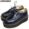 A.O.D Big size 35~43 MEN PLATFORM LACE UP MENS FLATS CREEPERS GOTH PUNK SHOES BLUE LASER HOLOGRAM FLAT SHOE OXFORDS