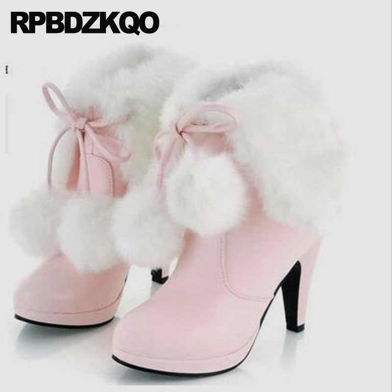 80960a5fcba Pink Furry Lace Up Sexy Big Size Pointed Toe Women Boots Winter 2018 Fur  Cheap Stiletto