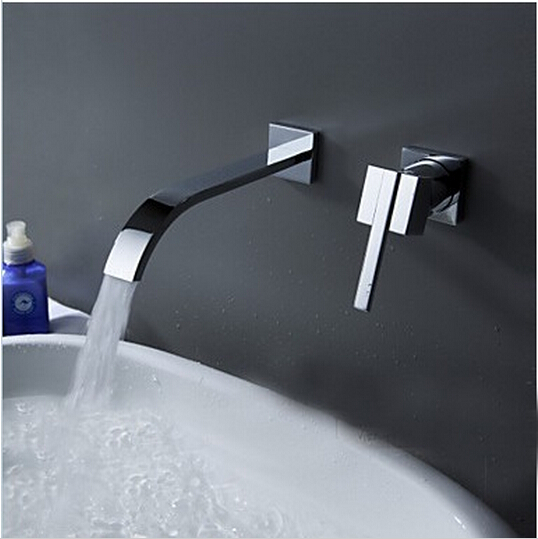 BECOLA Wallmounted washbasin water tap 2 piece set flush faucet cabinet mixer bathroom hot and cold