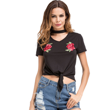 2017 New Arrival Women Summer T-Shirt Black Embroidery Patch Choker V Neck Short Sleeve Crop Top Knot Sexy Tees