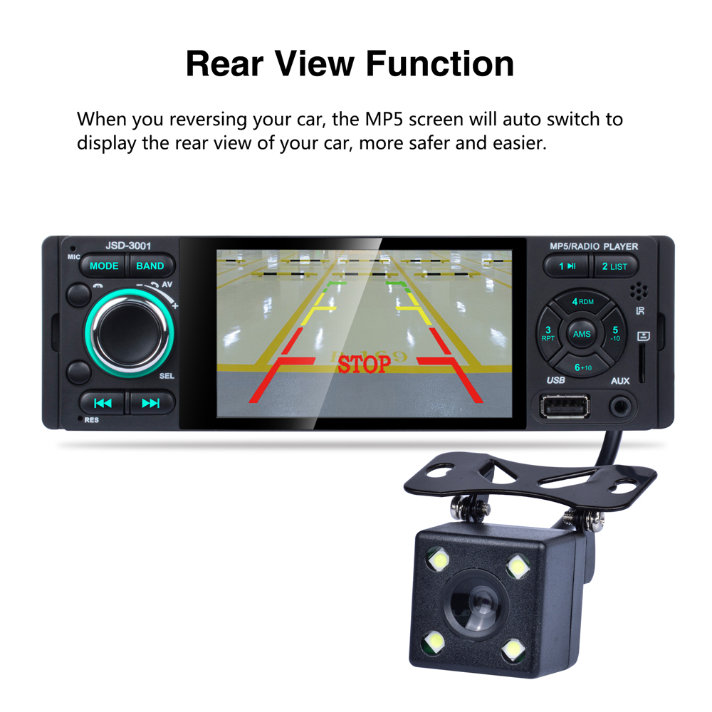 JSD-3001 2019 New Music Video player 4 1'' 1080P Touch screen MP3 MP4 MP5  4*50W Bluetooth FM Radio Receiver 3001 support camera