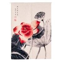 Cotton Linen Lotus Pattern Japanese Style Doorway Curtain 85x90cm 85X120cm Decorative Door Curtain