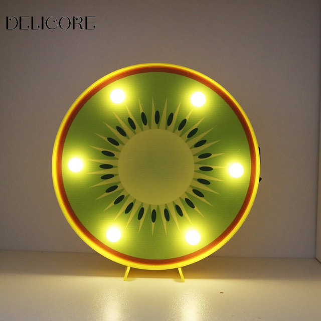 Delicore Kiwi Fruit Led Marquee Light Sign Slice Decorative Motif Night Lamp Table Home Kitchen Cabinet Decor Gifts