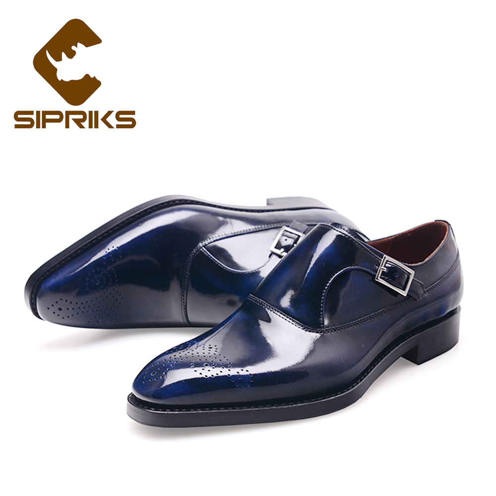 SIPRIKS Luxe Hommes Goodyear Welted Chaussures Habillées Bleu Foncé Chaussures de Smoking Pour Homme Simple Monks Appartements Bout Carré Sociale chaussures