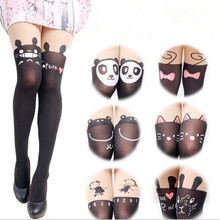 Крутые Колготки с рисунком кота и сердца, женские колготки, женские чулки до колен, нейлоновые тонкие колготки
