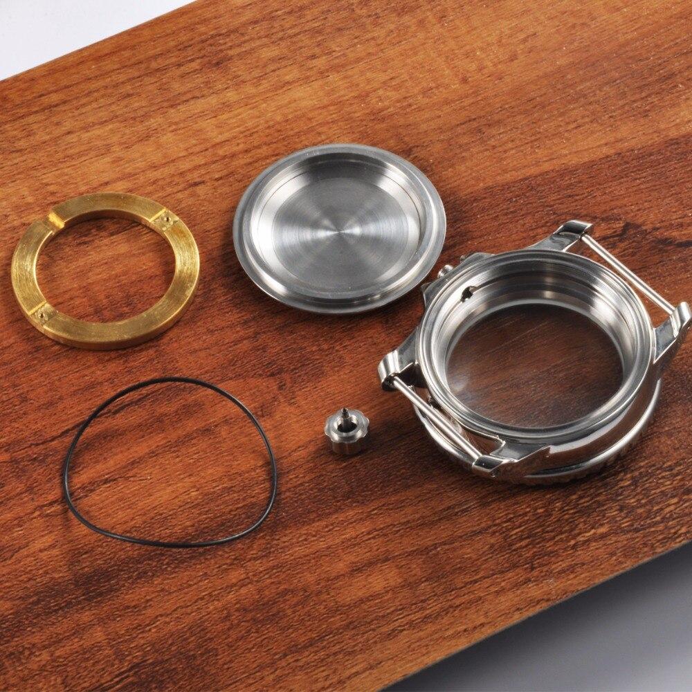 45mm corgeut safira vidro relógio habitação caso com moldura ajuste eta2836