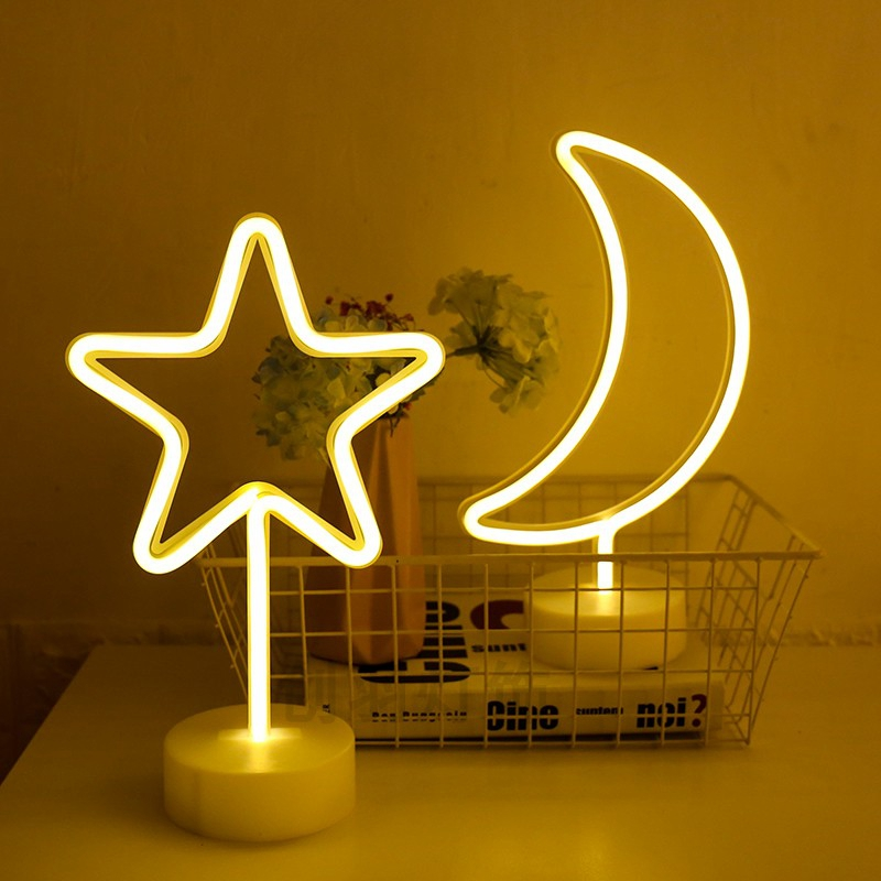 Party Decoration Neon Nightlight Cute Moon Star Lightning Flamingo Shape Battery USB Operated Neon Lamp For Holiday Decor (16)