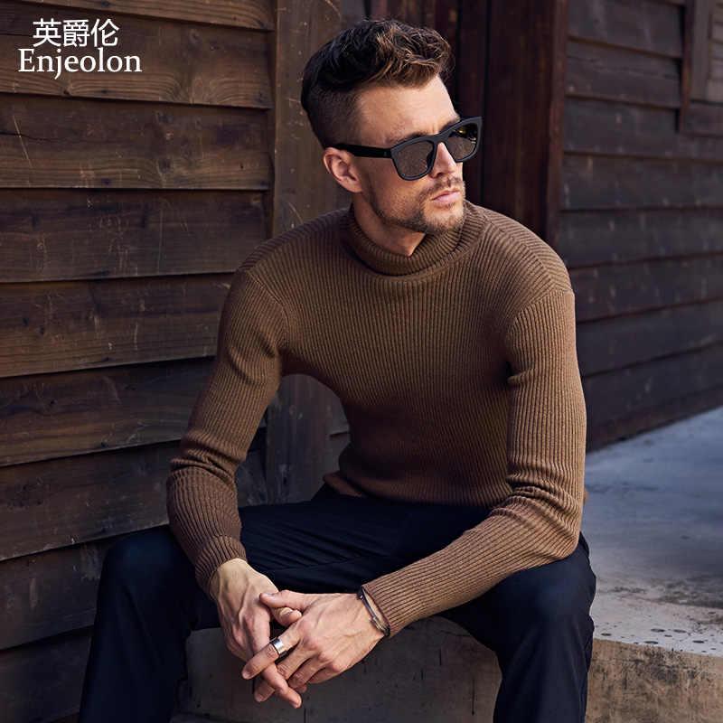 Enjeolon бренд Зимний вязаный пуловер теплый сплошной свитер с воротником человек хлопок пуловер, свитер для мужчин MY3220