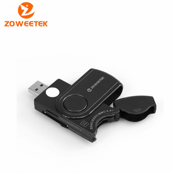 Zoweetek ZW-CR01 USB 3.0 Smart Memory Card Reader 4 Port Slots DOD Military/CAC Common Access/Bank Card ID/SD/Micro SD/TF Cards