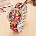 Hot Sale Retro UK Flag Print Ladies Elastic Shrinkage Strip Rhinestone Quartz-Watch Women Fashion Dress Watches Relogio Feminino