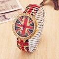 Venda quente Retro reino unido bandeira de impressão elástica faixa de strass relógio de quartzo mulheres vestido relógios relógio Feminino