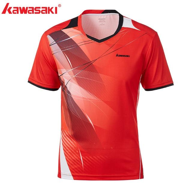 2018 New  Kawasaki Men T-shirt V Neck Short Sleeves Badminton Shirts Tennis T Shirt For Male Outdoor Sports Sportswear ST-T1016
