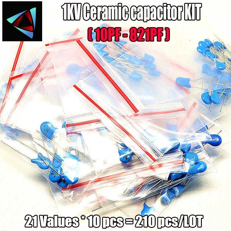 210pcs/lot 1KV High-voltage Ceramic Capacitors Package 1000V 1KV 10PF-821PF 21Values*10pcs Capacitors Assorted Kit