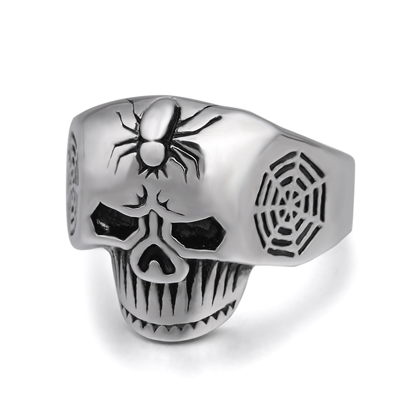 Shoopnary Spider on ghost head style fashion ring made of stainless steel for both man and women Beauty and jewelry