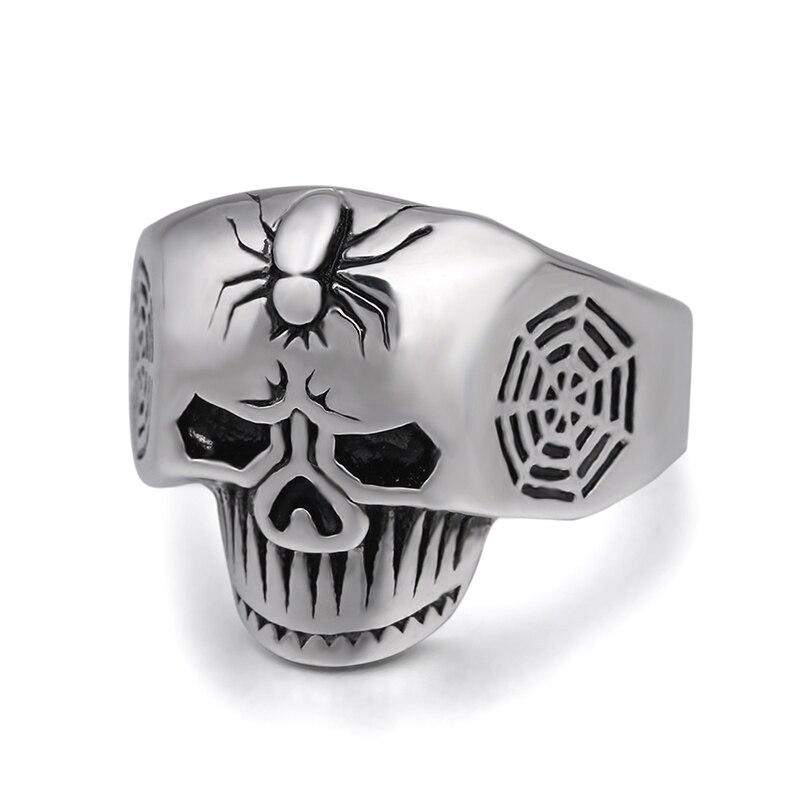 Shoopnary araña en ghost head moda anillo de acero inoxidable para el hombre y las mujeres belleza y joyería