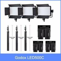 Godox Professional LED Video Light LED500C Changeable Version 3300K 5600K + battery+Dual Charger +2m light stnad