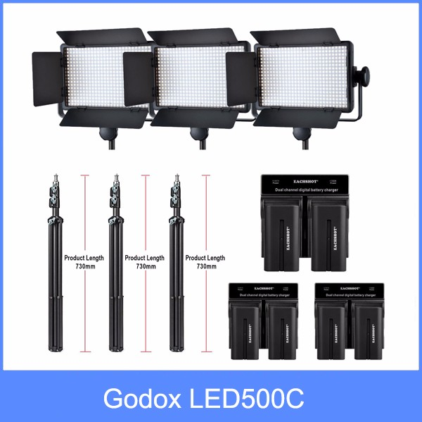 Godox Professional LED Video Light LED500C Changeable Version 3300K-5600K + battery+Dual Charger +2m light stnad godox professional led video light led500w white version 5600k new arrival free shipping