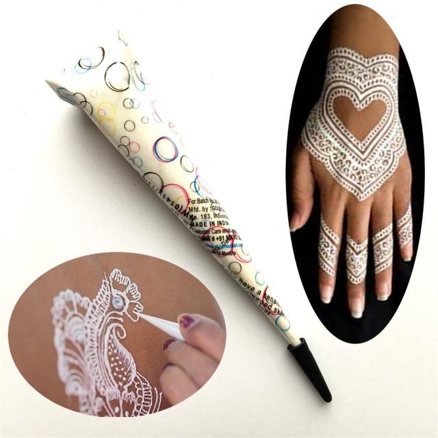 Putih Henna Tato Paste Cone India Mehndi Anti Air Tato Untuk Badan