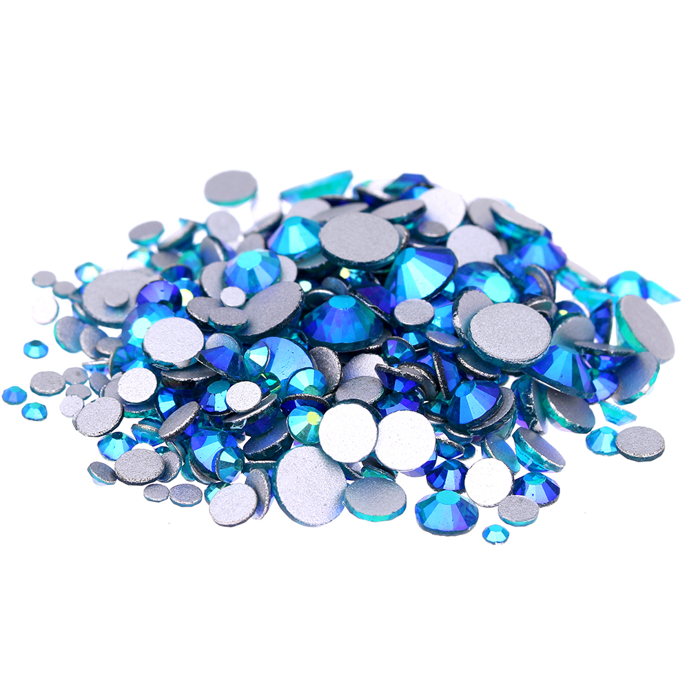 Dark Aquamarine AB Non Hotfix Glass Rhinestones For Nails Art Flatback Glue On Crystal Diamonds DIY Wedding Clothes Decoration super shiny 5000p ss16 4mm crystal clear ab non hotfix rhinestones for 3d nail art decoration flatback rhinestones diy