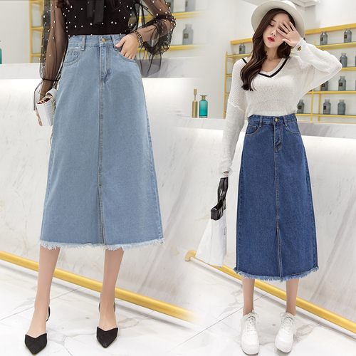 Stinlicher Women Ladies Long Denim Jean Skirts High Waist Umbrella Wrapover Casual Calf-Length Slits Casual Plus Size Skirt Jean