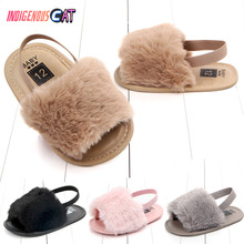 New Model 2019 Fashion Faux Fur Baby Shoes Summer Cute Infant Boys Girls First Walkers Flats Soft Sole Indoor