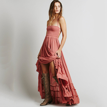 Vestidos De Fiesta Robe Foldable Strapless Backless And Ankle Summer Leisure Light Perspective Fascinating Charm Women Dress