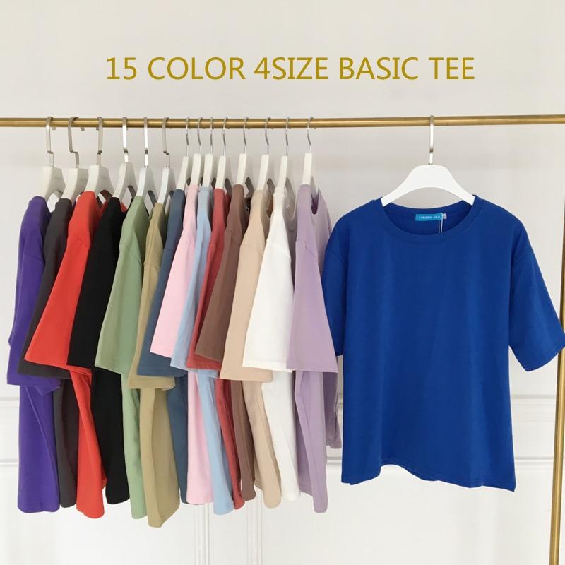 New Tee Shirt 15 Solid Color Basic T-shirt Women Casual O-neck Harajuku Summer Top Korean Hipster White T Shirt S-XL Dropship