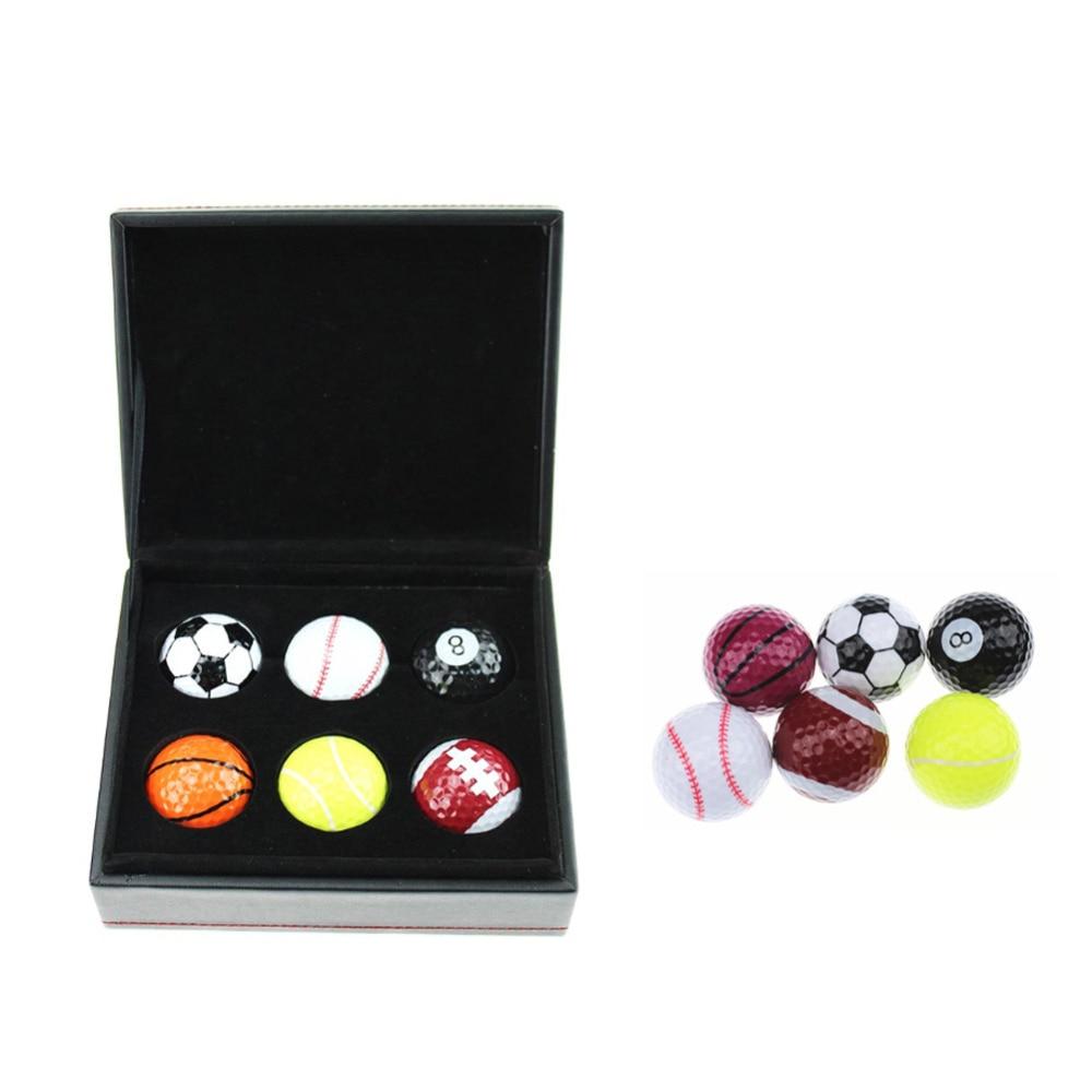 CRESTGOLF 6pcs Novelty Golf Balls in Designed Box Golf Gifts Football Golf Ball Perfect Golf Gifts