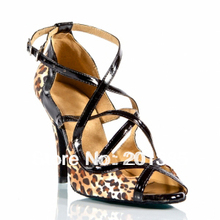 New Ladies Leopard Satin Patent Leather Ballroom Latin Salsa Dance Shoes Tango ChaCha Shoes 34,35,36,37,38,39,40,41
