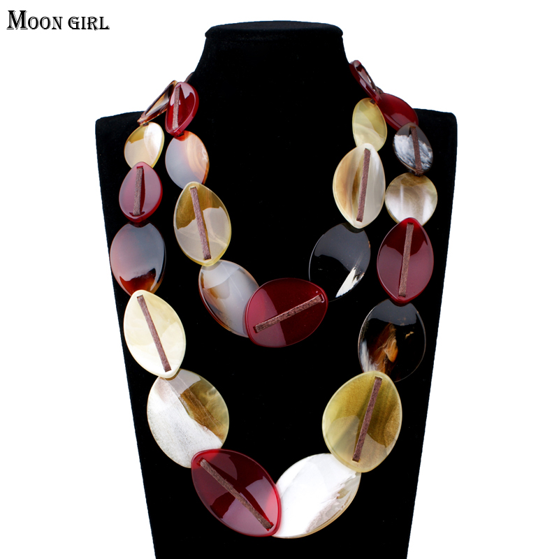 MOON GIRL 2017 New Charms Resin Pendants Choker Maxi Necklace Fashion jewelry display Rope Chain Statement Necklace for women