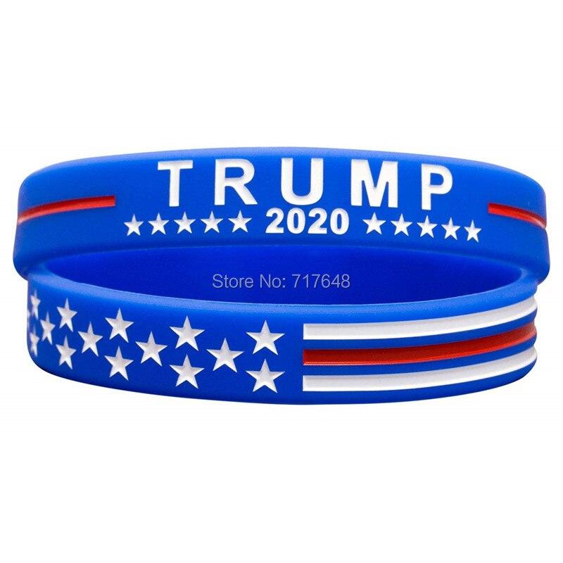 300 sztuk Trump utrzymać ameryka wielki z USA flaga na prezydenta 2020 opaska na nadgarstek bransoletki silikonowe darmowa wysyłka przez FEDEX, w Bransoletki mankietowe od Biżuteria i akcesoria na  Grupa 1