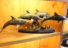 Bronze dolphin crafts home decoration business gift Decorated cigarette lighter statue watch real Brass