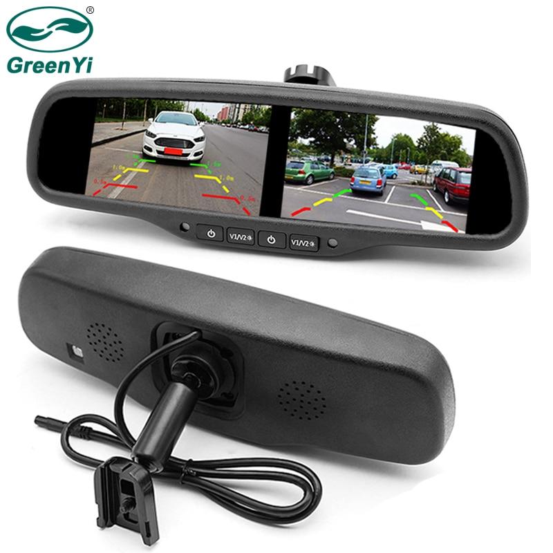 GreenYi 4 3 Inch Dual HD 800 480 Display Screen Car Rear View Parking Mirror Monitor