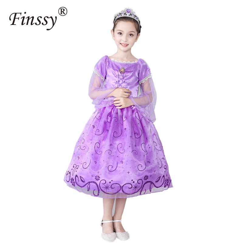 Rapunzels Cosplay Costume for Girls tangleds Princess Dresses Halloween Costume for Kids Party Dress Carnival C