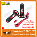 MX Dirt Pit bike Cross Pro Taper Handle Red Grip Grips + Alloy Red Gear Lever + Fuel Gas Cap Vent Fit  Pit Pro KAYO FreeShipping