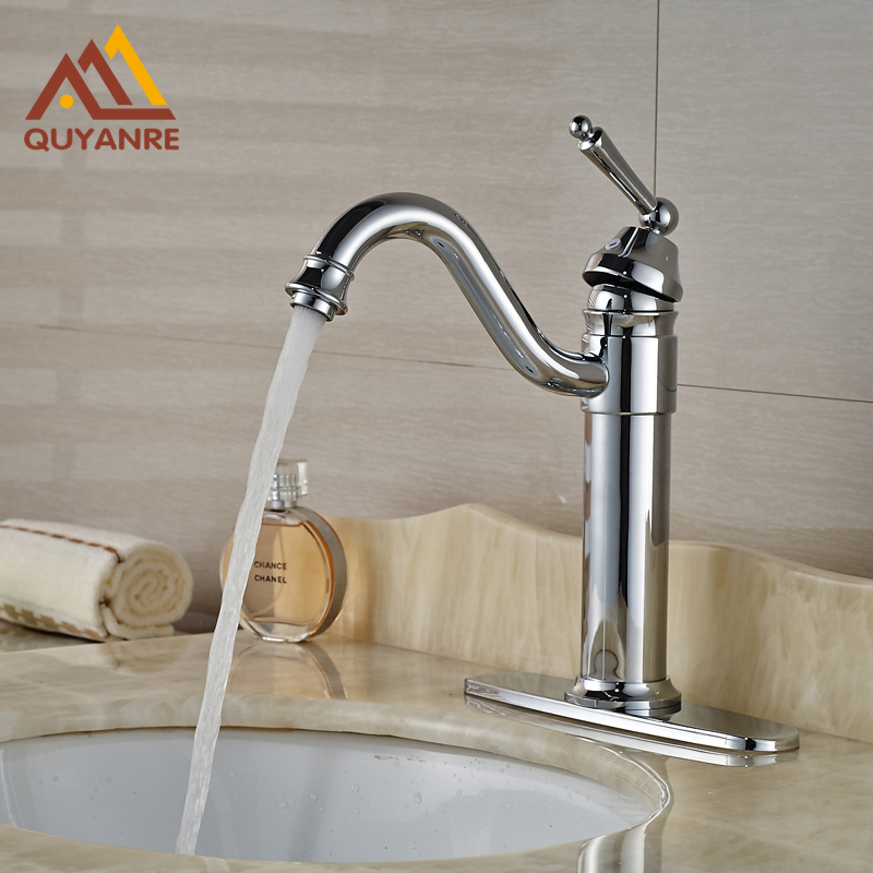 Chrome Single Lever Brass Basin Faucet Deck Mount Mixer Tap One Hole with Hot Cold Water china sanitary ware chrome wall mount thermostatic water tap water saver thermostatic shower faucet