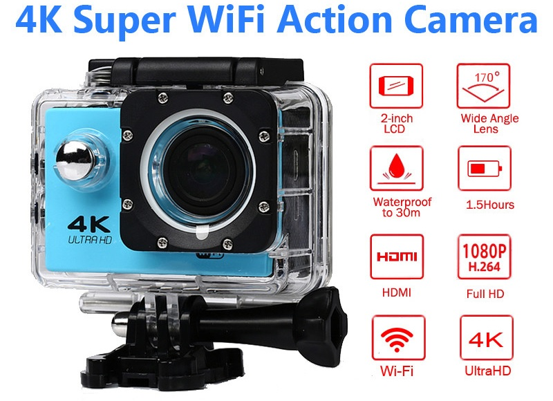 1080p Sports Wifi Camera 4K digital video Camera 30m waterproof HD Camcorder 2 0 Screen